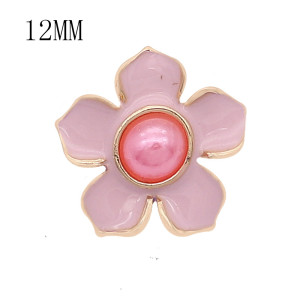 12MM snap gold plated Flowers plated Pink enamel KS7177-S snaps jewerly