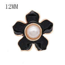 12MM snap gold plated Flowers plated black enamel KS7176-S snaps jewerly