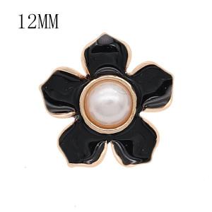 12MM Druckknopf vergoldet Blumen schwarzer Emaille KS7176-S Druckknopf