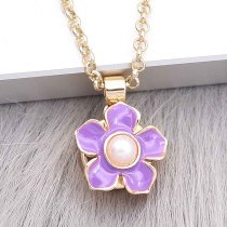 12MM snap gold plated Flowers plated purple enamel KS7179-S snaps jewerly