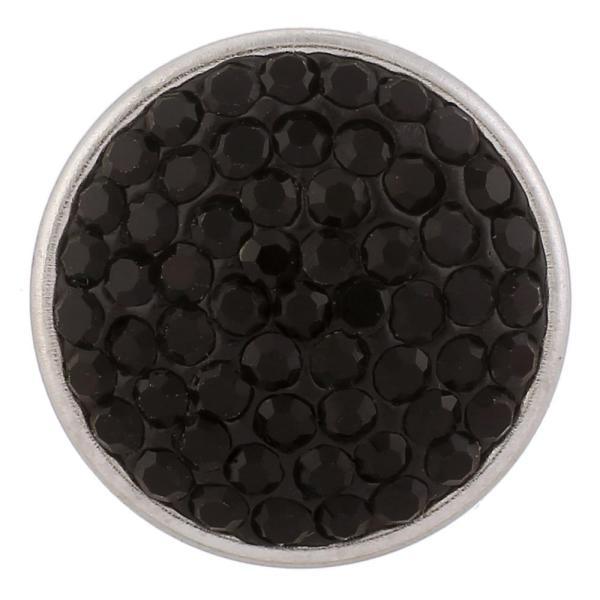 Broches de azúcar 18mm Aleación con diamantes de imitación negros Joyas de broches KB2306