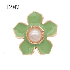 12MM snap gold plated Flowers plated green enamel KS7180-S snaps jewerly