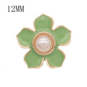 12MM Druckknopf vergoldet Blumen versilbert grüner Emaille KS7180-S Druckknopf