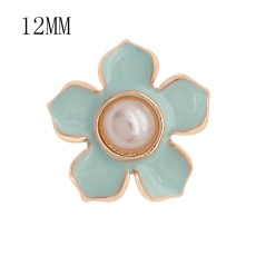 12MM snap gold plated Flowers plated blue enamel KS7178-S snaps jewerly