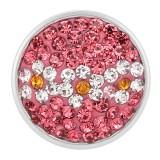 18mm Sugar Snaps Alloy mit pinkfarbenen Strasssteinen KB2407-AS schnappt Schmuck