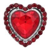 20MM design en forme de coeur pour la Saint Valentin snap argenté avec strass rouge KC9414
