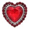 20MM heart-shaped Valentine's Day design snap Silver Plated with Red rhinestone KC9414