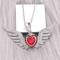 20MM diseño de San Valentín en forma de corazón, chapado en plata con diamantes de imitación rojos KC9414