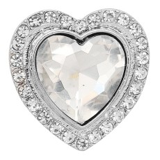 20MM diseño de San Valentín en forma de corazón, chapado en plata con diamantes de imitación blancos KC9413