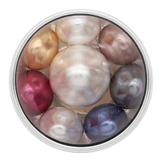 20MM round snap Silver Plated with Pearl KC2212  multicolor