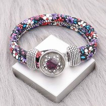 20MM  design snap Silver Plated with red Rhinestone KC2223