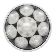 20MM round snap Silver Plated with white Pearl KC2213