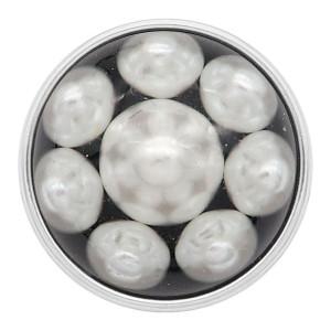 Круглая кнопка 20MM посеребренная с белой жемчужиной KC2213