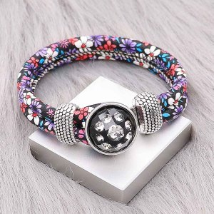20MM  design snap Silver Plated with white Rhinestone KC2222