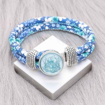 20MM design snap Silver Plated blue Thread KC2221