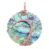 Concha natural Árbol de la vida cobre Colgante de collar