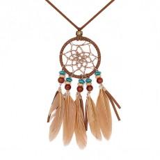 Collier avec plumes d'agate et marron 72cm collier en cuir TA3162