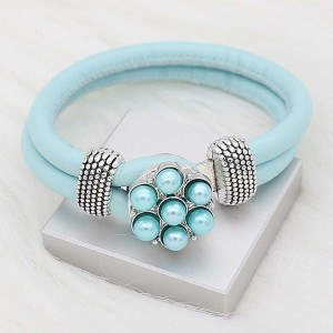 20MM snap silver Plated with Blue Pearl KC8243