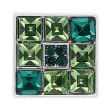 20MM square snap silver Plated with Green Rhinestone KC8242