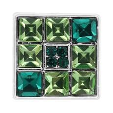 20MM cuadrado chapado en plata chapado con diamantes de imitación verde KC8242