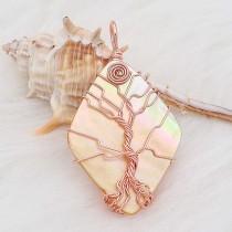天然シェル生命の木銅ネックレスのペンダント