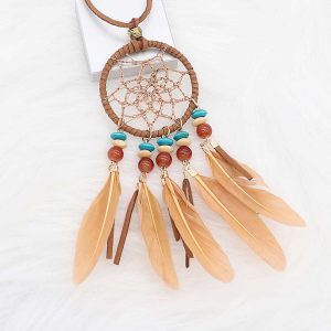 Necklace  With agate and brown feathers 72cm leather necklace TA3162