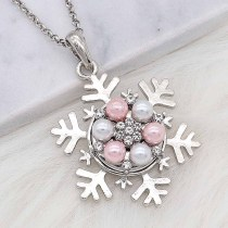 20MM snap silver Plated with Pink Pearl and Rhinestone KC8253