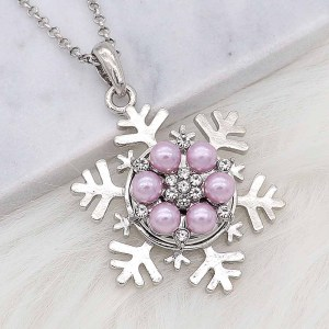 20MM snap silver Plated with purple Pearl and Rhinestone KC8255