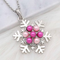 20MM snap silver Plated with rose-red Pearl KC8247