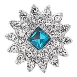20MM chapado en plata chapado con diamantes de imitación azul claro KC8249