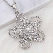 20MM snap silver Plated with white Rhinestone KC8256