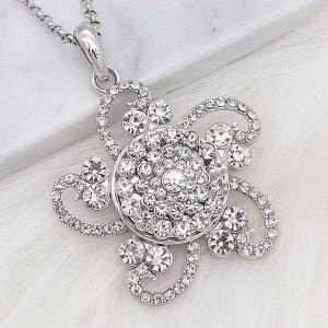 20MM chapado en plata chapada con diamantes de imitación blancos KC8256