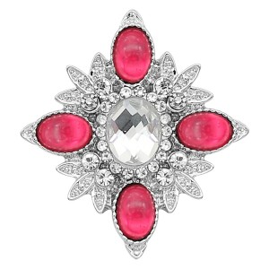 20MM snap silver Plated with Red Rhinestone KC8261
