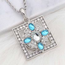 20MM snap silver Plated with Light blue Rhinestone KC8262