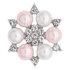 20MM chapado en plata chapada con perla rosa y diamantes de imitación KC8253