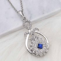 20MM snap silver Plated with Navy Blue Rhinestone KC8250
