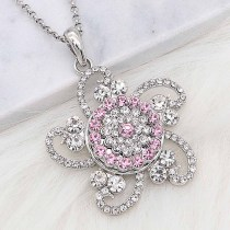 20MM snap silver Plated with Pink Rhinestone KC8257