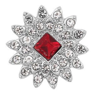 20MM snap silver Plated with Red Rhinestone KC8251