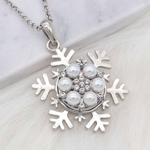 20MM chapado en plata chapada con perlas blancas y diamantes de imitación KC8252