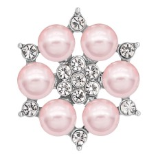 20MM snap silver Plated with Pink Pearl and Rhinestone KC8254