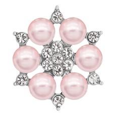 20MM chapado en plata chapada con perla rosa y diamantes de imitación KC8254