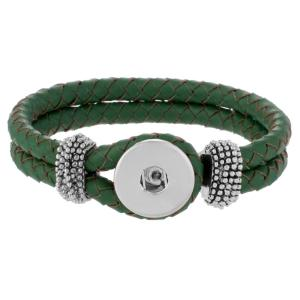 Green real leather new type bracelets fit snaps chunks