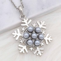 20MM snap silver Plated with gray Pearl KC8245