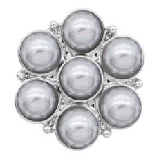 20MM Druckknopf versilbert mit grauer Perle KC8245