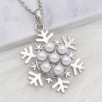 20MM snap silver Plated with white Pearl KC8244