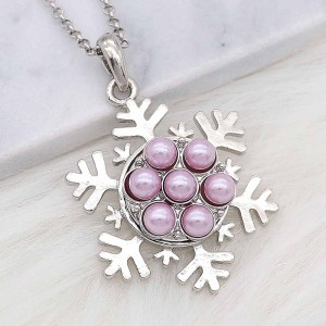 20MM snap silver Plated with purple Pearl KC8248