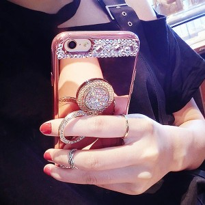 Creative gem diamond mobile phone ring bracket rose-gold diamond ring bracket mobile phone back stick bracket