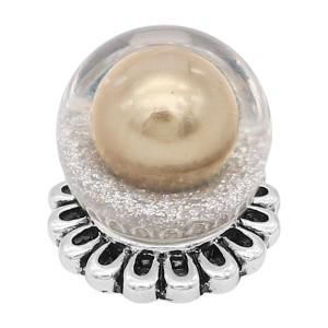 Broche de ópalo esférico brillante de 20 mm plateado con perla dorada KC8269