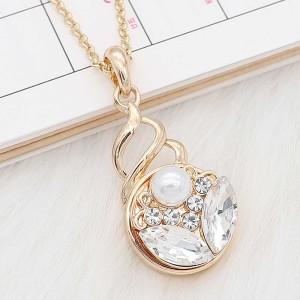 20MM Diseño de flor complemento chapado en oro blanco con diamantes de imitación y perla KC8263