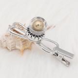 20MM brillant opale sphérique snap plaqué argent avec perle dorée KC8269